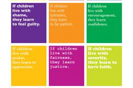 "Graphic Design Card of ""Children Learn What they Live"""